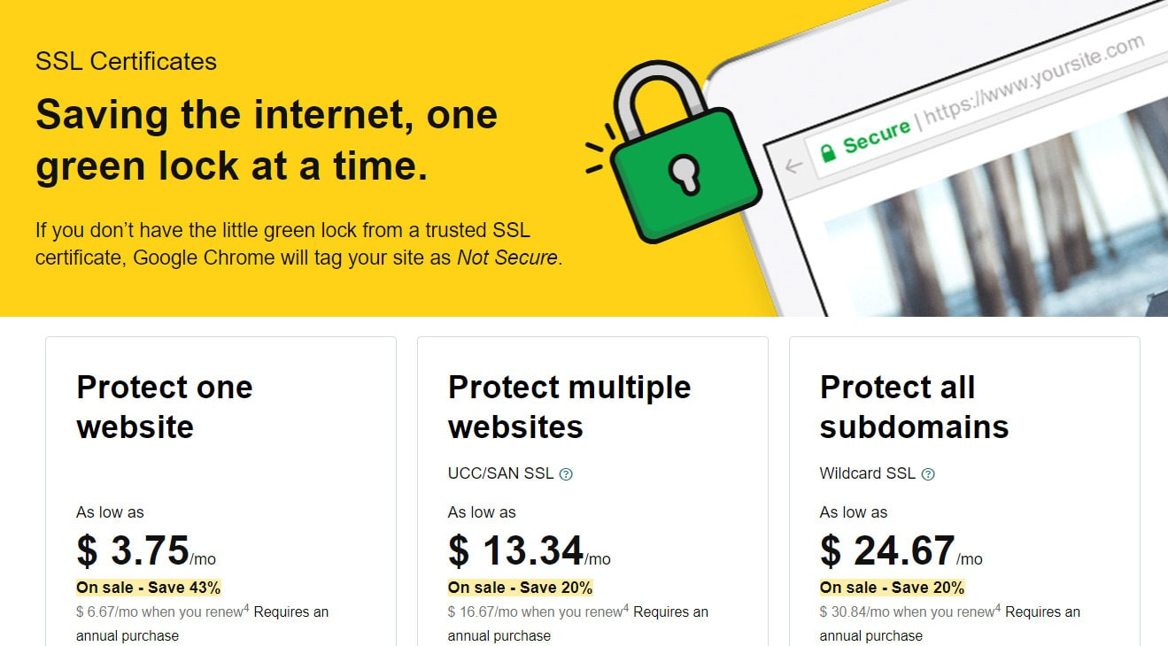 Godaddy SSL Coupon step 1