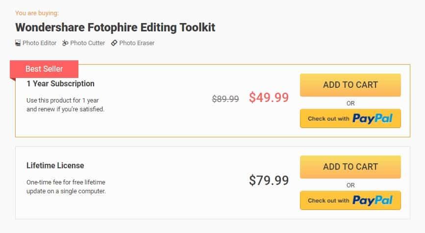 Wondershare fotophire-pricing