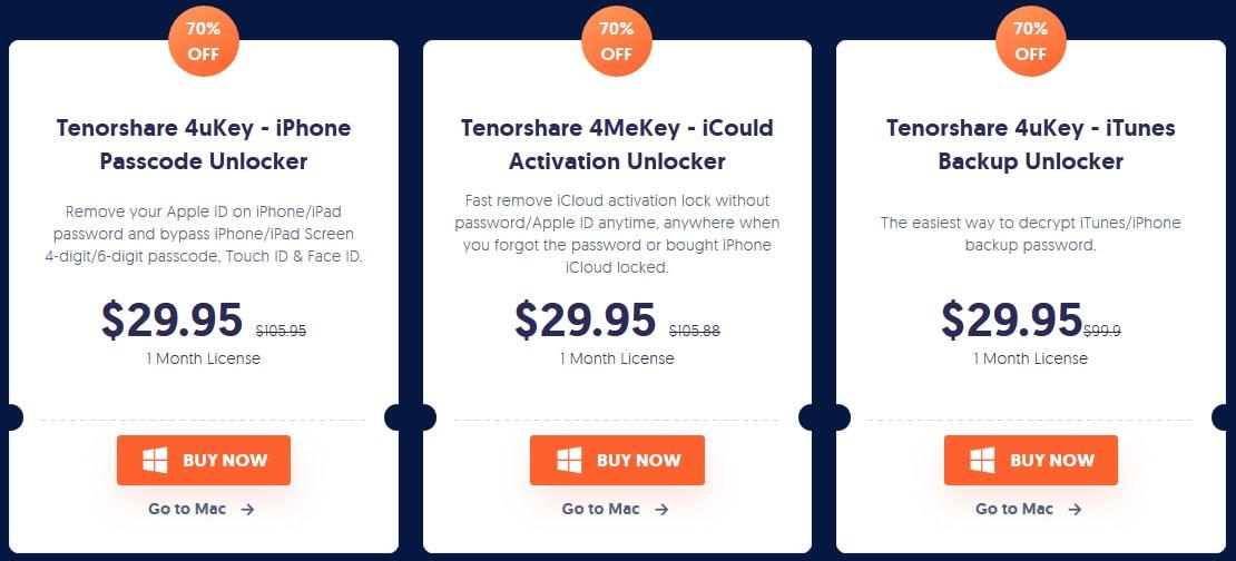 Tenorshare 4uKey Pricing