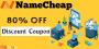 Get Flat 80% OFF on Namecheap